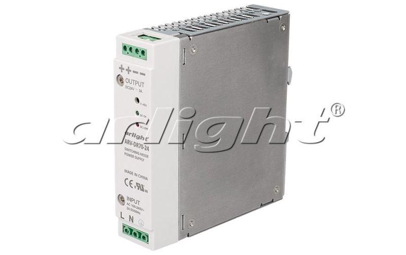 Блок питания Arlight ARV-DR70-24 (24V, 3A, 72W) 022601Блоки питания<br><br>