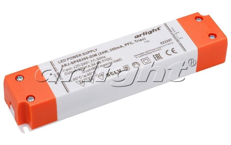 Блок питания Arlight ARJ-SP68350-DIM (24W, 350mA, PFC, Triac) Блоки питания<br><br>