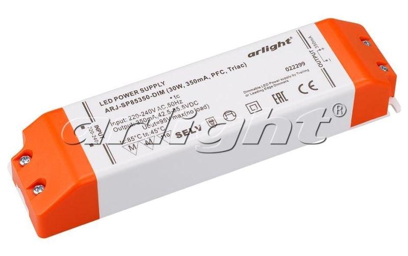 Блок питания Arlight ARJ-SP85350-DIM (30W, 350mA, PFC, Triac) Блоки питания<br><br>