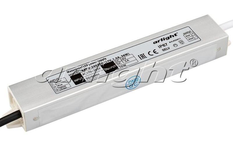 Блок питания Arlight ARPV-24036D (24V, 1.5A, 36W) 022411Блоки питания<br><br>