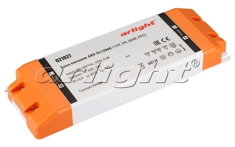 Блок питания Arlight ARV-SL12060 (12V, 5A, 60W, PFC) 021027Блоки питания<br><br>