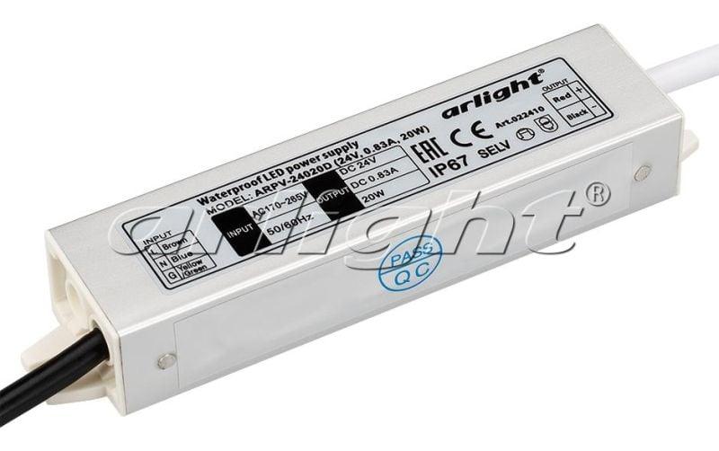 Блок питания Arlight ARPV-24020D (24V, 0.83A, 20W) 022410Блоки питания<br><br>