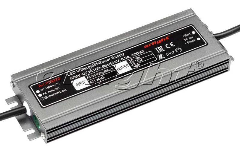 Блок питания Arlight ARPV-GT12100-Slim (12V, 8.3A, 100W) 020272Блоки питания<br><br>