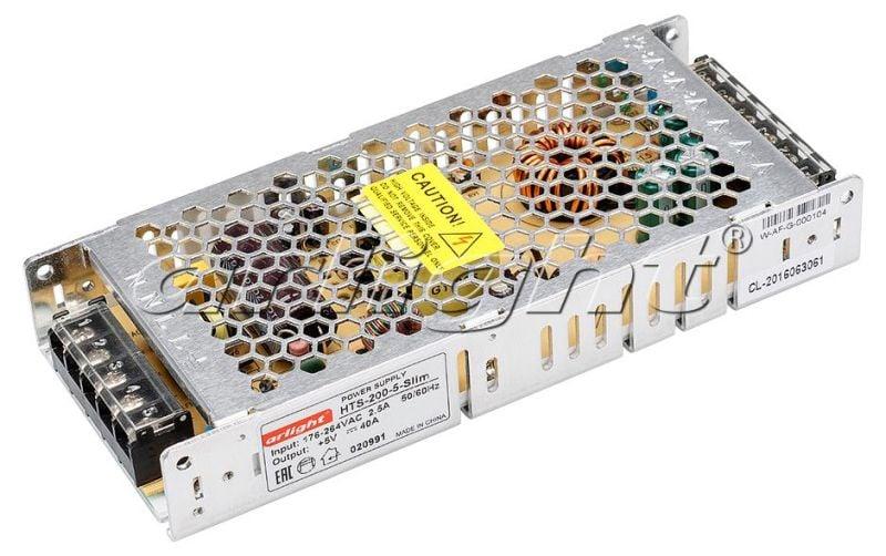 Блок питания Arlight HTS-200-5-Slim (5V, 40A, 200W) 020991Блоки питания<br><br>