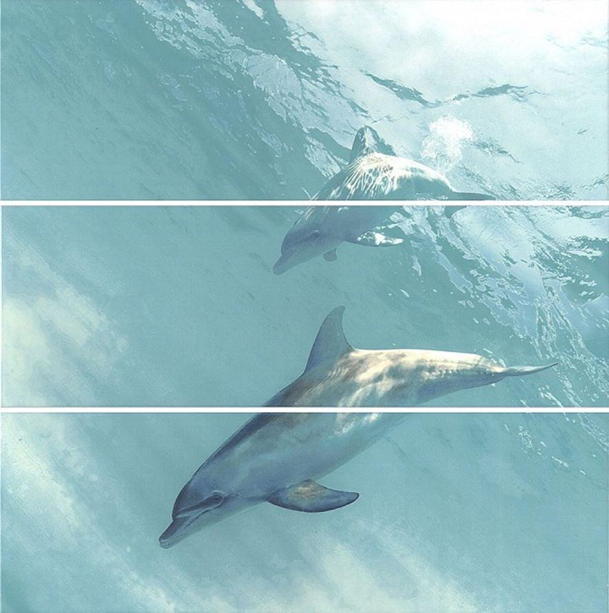 Искья Панно Дельфины HGD\A55\3x\12093R 75х75 (из 3-х Плитка<br><br>