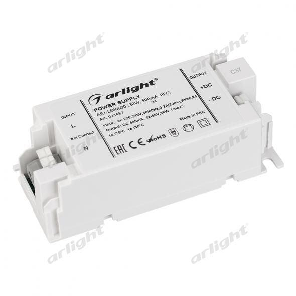 Блок питания Arlight ARJ-LE60500 (30W, 500mA, PFC) 023457Блоки питания<br><br>