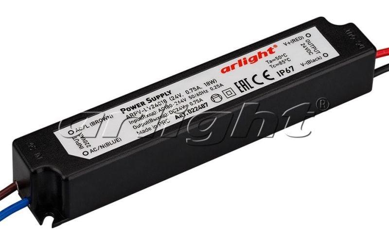 Блок питания Arlight ARPV-LV24018 (24V, 0.75A, 18W) 022487Блоки питания<br><br>