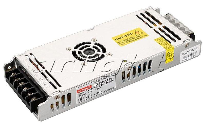 Блок питания Arlight HTS-300L-5-Slim (5V, 60A, 300W) 022414Блоки питания<br><br>