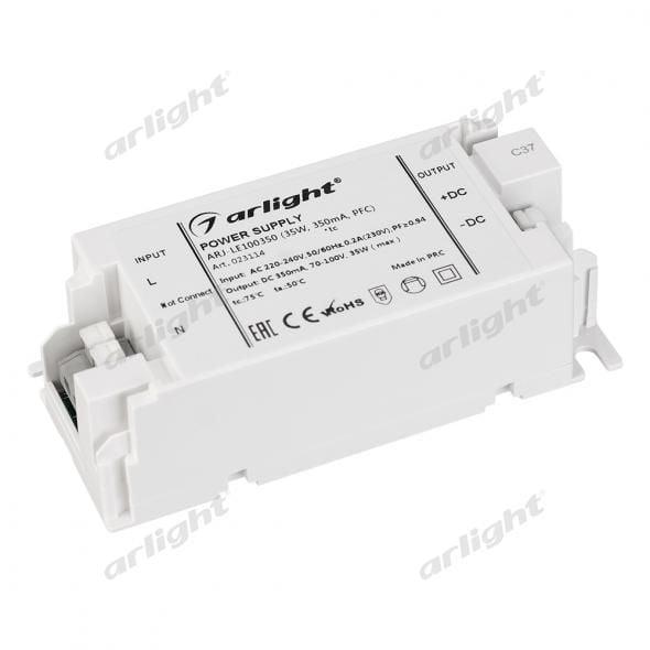 Блок питания Arlight ARJ-LE100350 (35W, 350mA, PFC) 023114Блоки питания<br><br>
