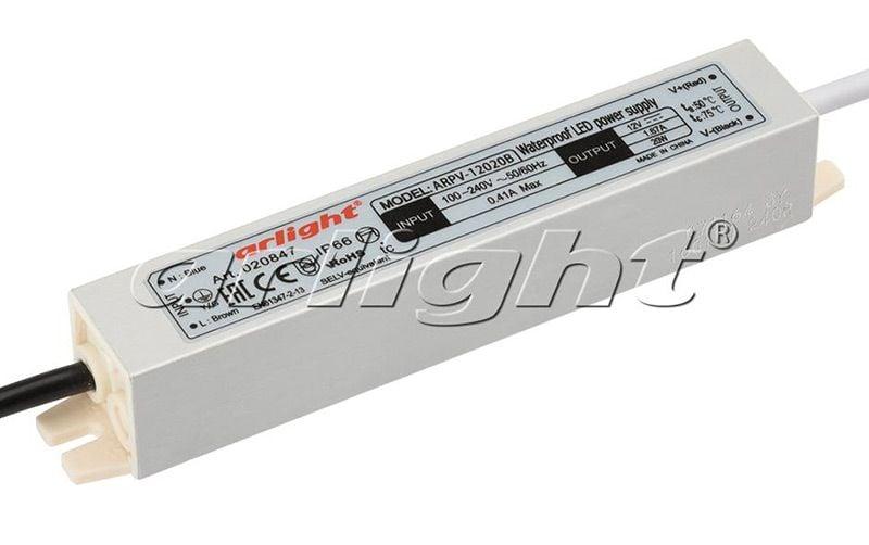 Блок питания Arlight ARPV-12020B (12V, 1.67A, 20W) 020847Блоки питания<br><br>