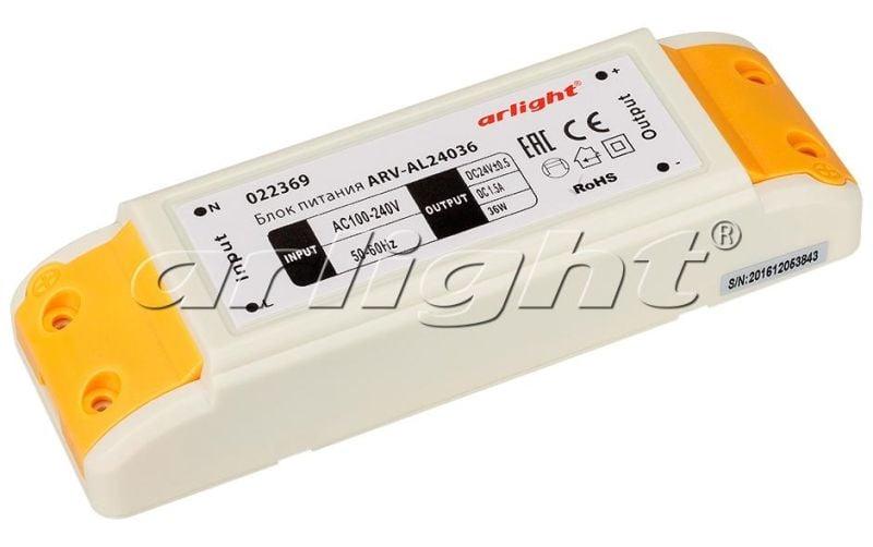 Блок питания Arlight ARV-AL24036 (24V, 1.5A, 36W) 022369Блоки питания<br><br>