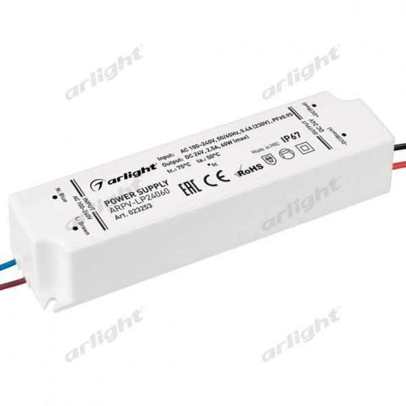 Блок питания Arlight ARPV-LP24060-PFC (24V, 2.5A, 60W) 023253Блоки питания<br><br>