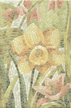 Летний сад Декор Лилии лаппатированный Плитка<br><br>