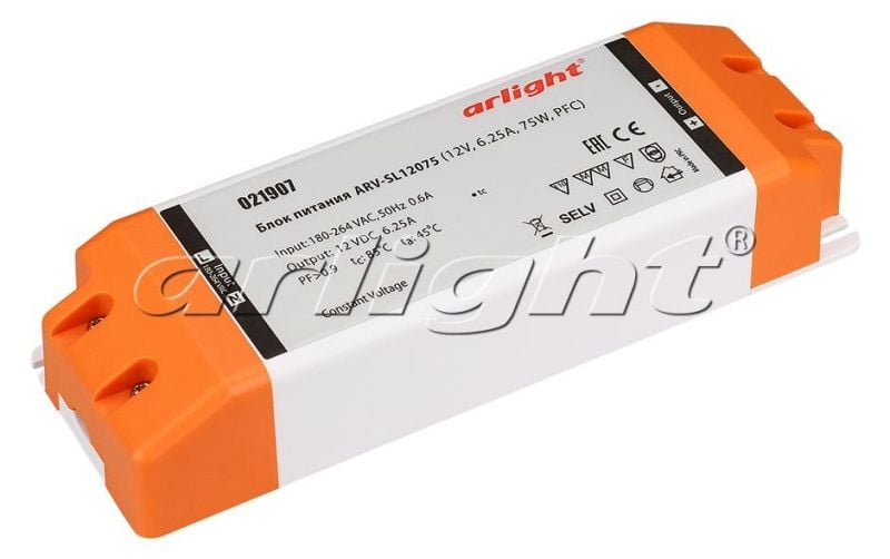 Блок питания Arlight ARV-SL12075 (12V, 6.25A, 75W, PFC) 021907Блоки питания<br><br>
