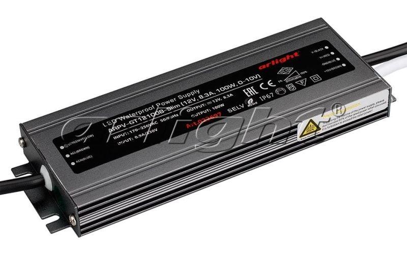 Блок питания Arlight ARPV-GT12100B-Slim (12V, 8.3A, 100W, 0-10V) Блоки питания<br><br>