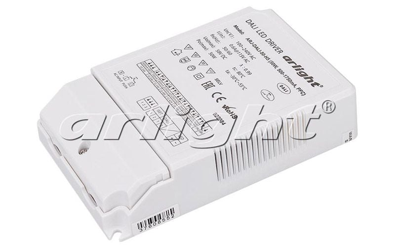 Блок питания Arlight ARJ-DALI-50-H5 (50W, 500-1750mA, PFC) 022984Блоки питания<br><br>